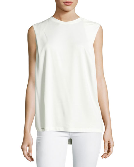 Sleeveless Round-Neck Jersey Tank, White