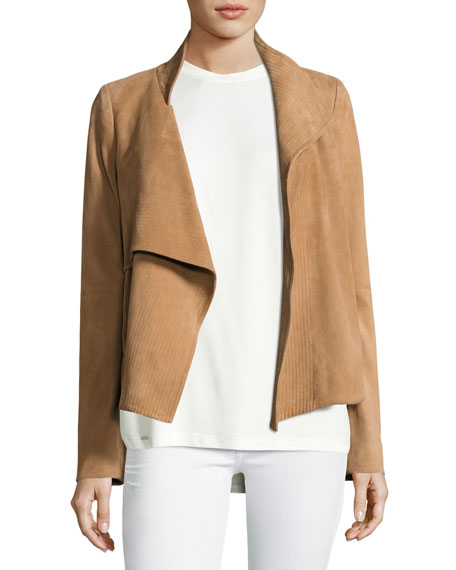 Draped Suede Jacket w/ Topstitching, Tan