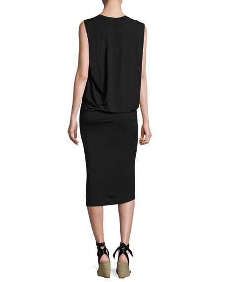 Sleeveless Fitted Draped Jersey Dress, Black