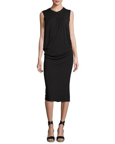 Sleeveless Fitted Draped Jersey Dress, Black
