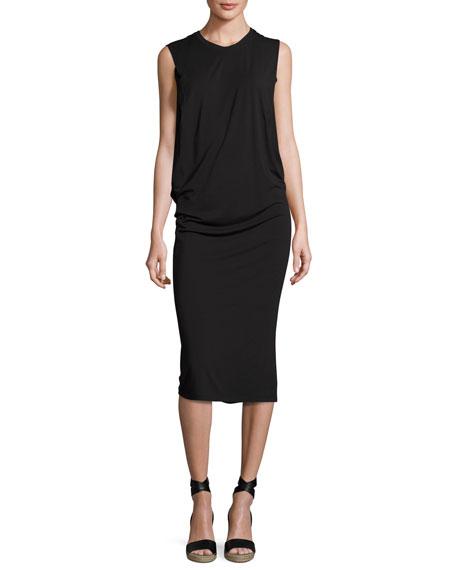 Halston Heritage Sleeveless Fitted Draped Jersey Dress, Black