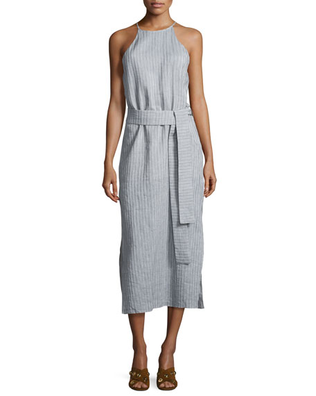 Halston Heritage Sleeveless High-Neck Striped Cami Dress w/