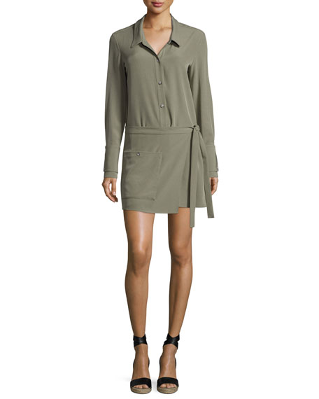 Long-Sleeve Faux-Wrap Romper, Green