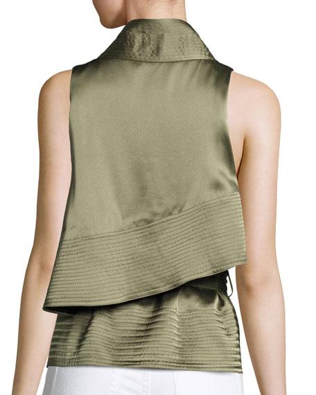 Sleeveless Draped Satin Waistcoat, Green