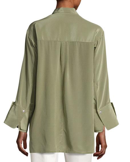 Halston Heritage Long-Sleeve Wide-Cuff Washed Silk Shirt, Green