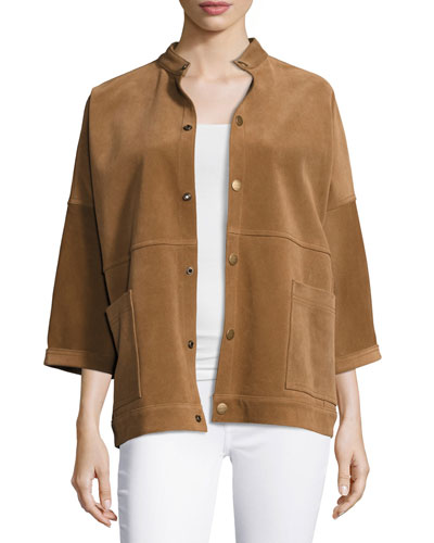 The Fringed Oversized Suede Chore Jacket, Burnt Nutmeg