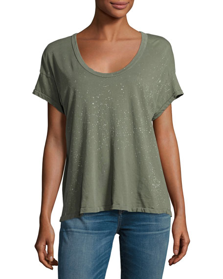 Current/Elliott The Slouchy Scoop-Neck Tee, Dusty Olive