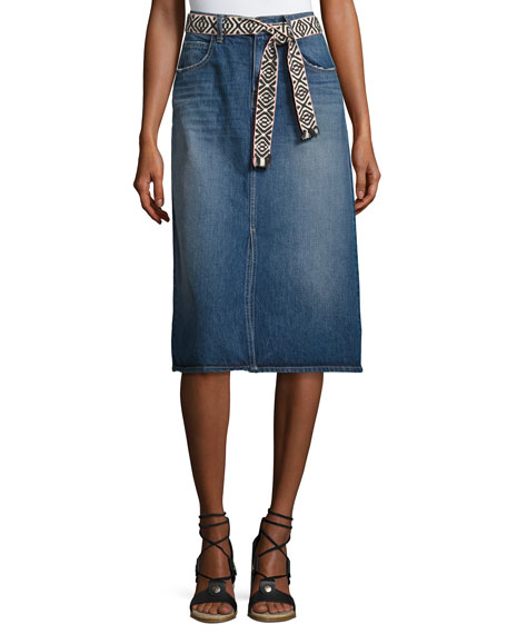 Current/Elliott The Slit Belted Denim Midi Skirt, Rincon