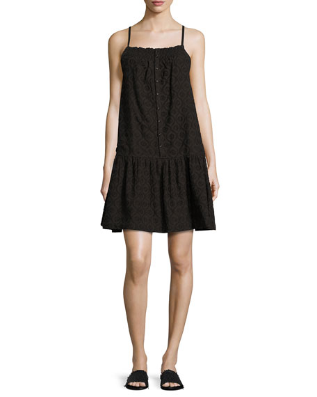 Current/Elliott The Hazel Embroidered Sleeveless Sundress, Black
