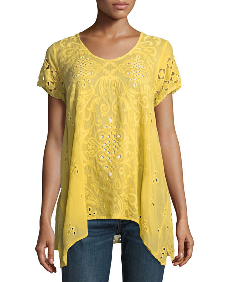 Wicktoria Georgette Eyelet Top, Soft Citron