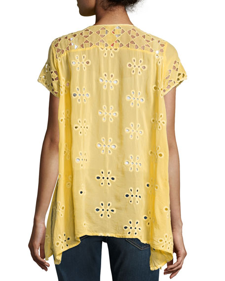 Wicktoria Georgette Eyelet Top, Soft Citron, Petite