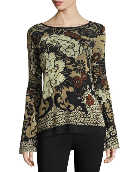 Fuzzi Bell-Sleeve Tie-Neck Top, Black Pattern
