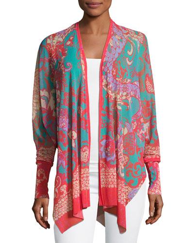 Bishop-Sleeve Tulle Kimono, Pink Pattern