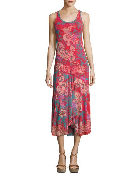 Fuzzi Floral-Print Tulle Midi Tank Dress, Pink Pattern