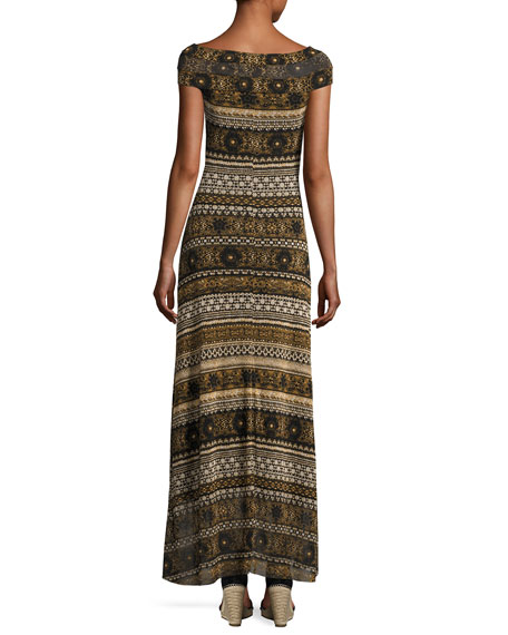 Cap-Sleeve Striped Tulle Maxi Dress, Black/Brown