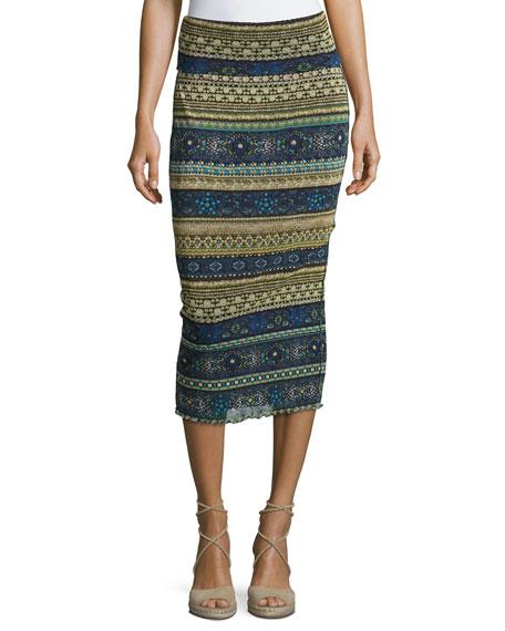 Fuzzi Striped Tulle Midi Tube Skirt, Blue Pattern