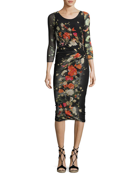 3/4-Sleeve Ruched Floral Tulle Sheath Dress, Black Pattern