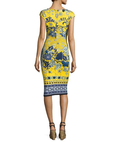 Sleeveless Batik Scuba Dress, Yellow/Blue