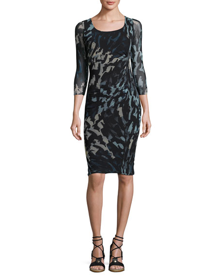 Fuzzi 3/4-Sleeve Abstract-Print Ruched Sheath Dress, Black/Blue