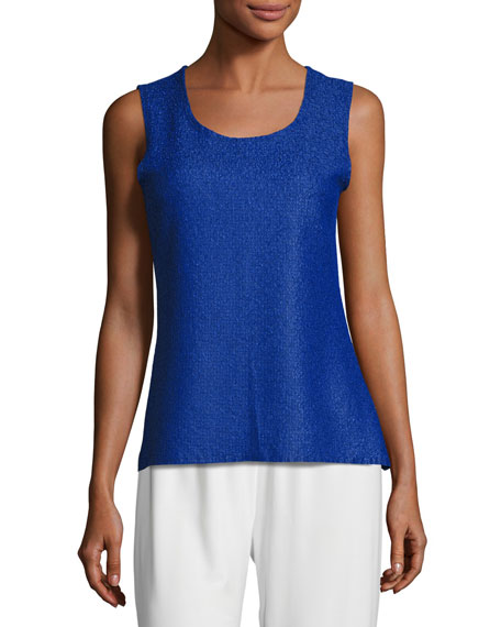 Sweet Thing Crinkle Tank, Cobalt, Plus Size