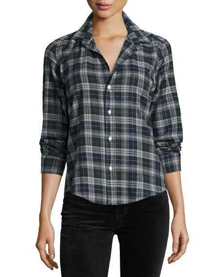 Frank & Eileen Barry Plaid Oxford Shirt, Green/Navy