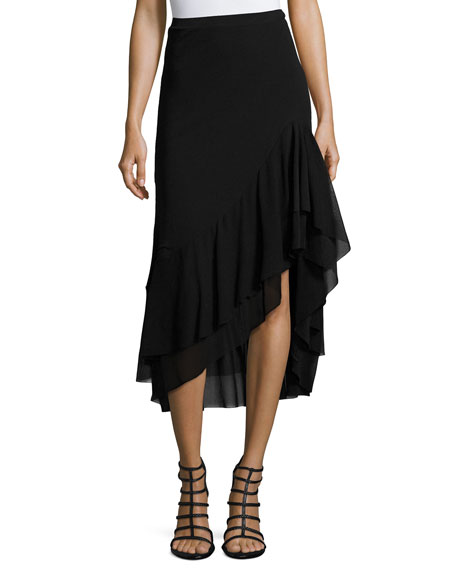Fuzzi Asymmetric Ruffled Tulle Midi Skirt, Black