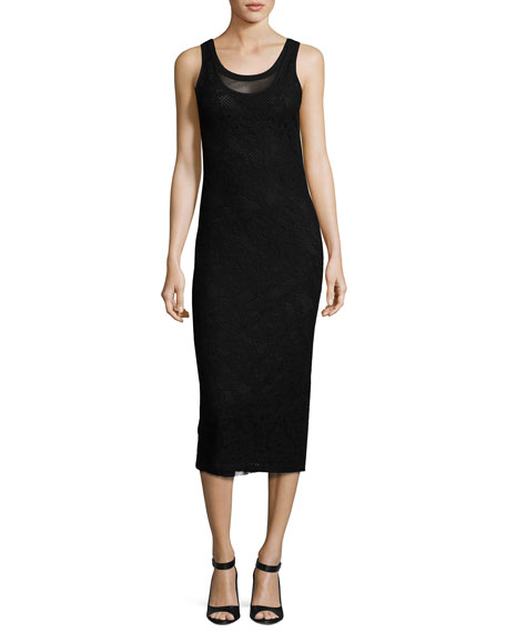 Fuzzi Scoop-Neck Lace Midi Tank Dress, Bless