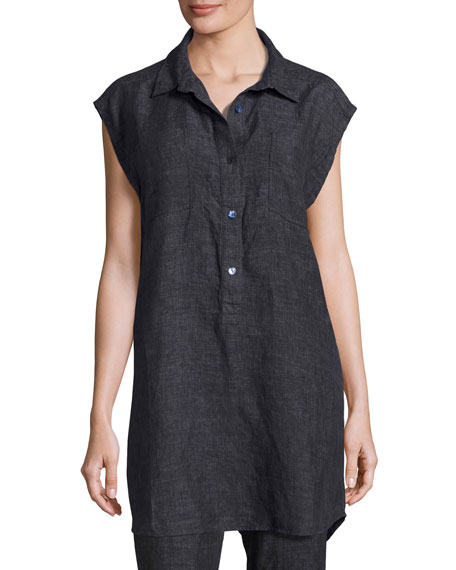 Sleeveless Washed Délavé Linen Tunic, Denim, Petite