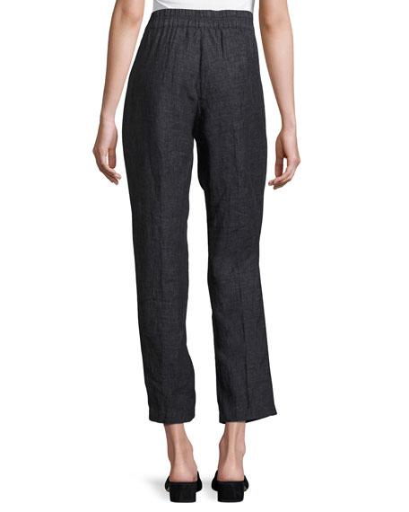 Washed Délavé Linen Cropped Pants, Denim