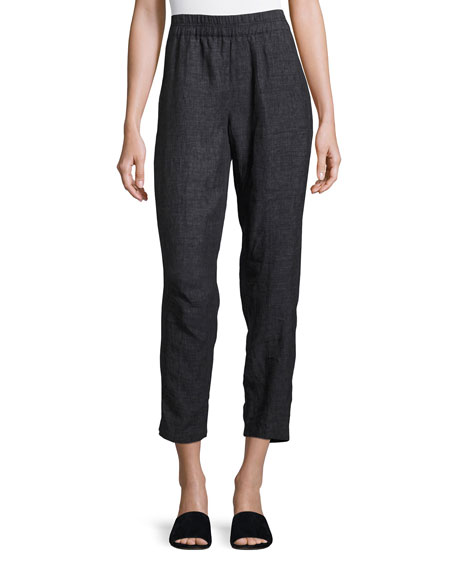 Eileen Fisher Washed Délavé Linen Cropped Pants, Denim