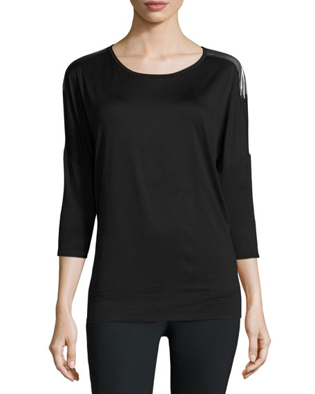 Alala Tranquility Metallic-Back Performance Tunic, Black