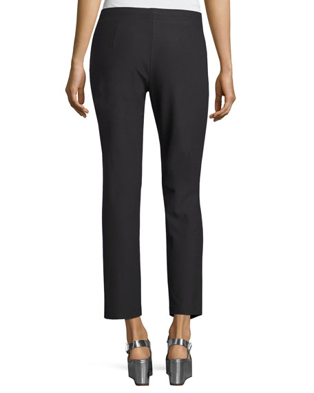 Washable Stretch Crepe Ankle Pants, Petite