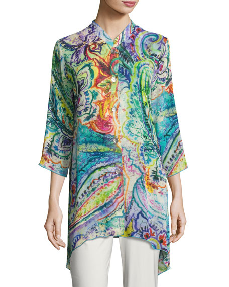 Caroline Rose Paisley-Print Georgette Blouse, Petite and Matching
