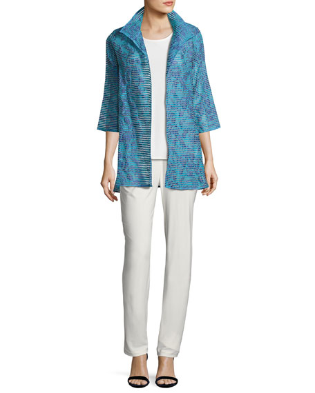 Tonal Ribbon Topper Jacket, Blue, Plus Size