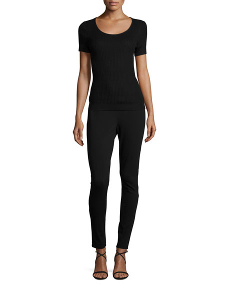 Isla Ribbed Scoop-Neck Top, Black