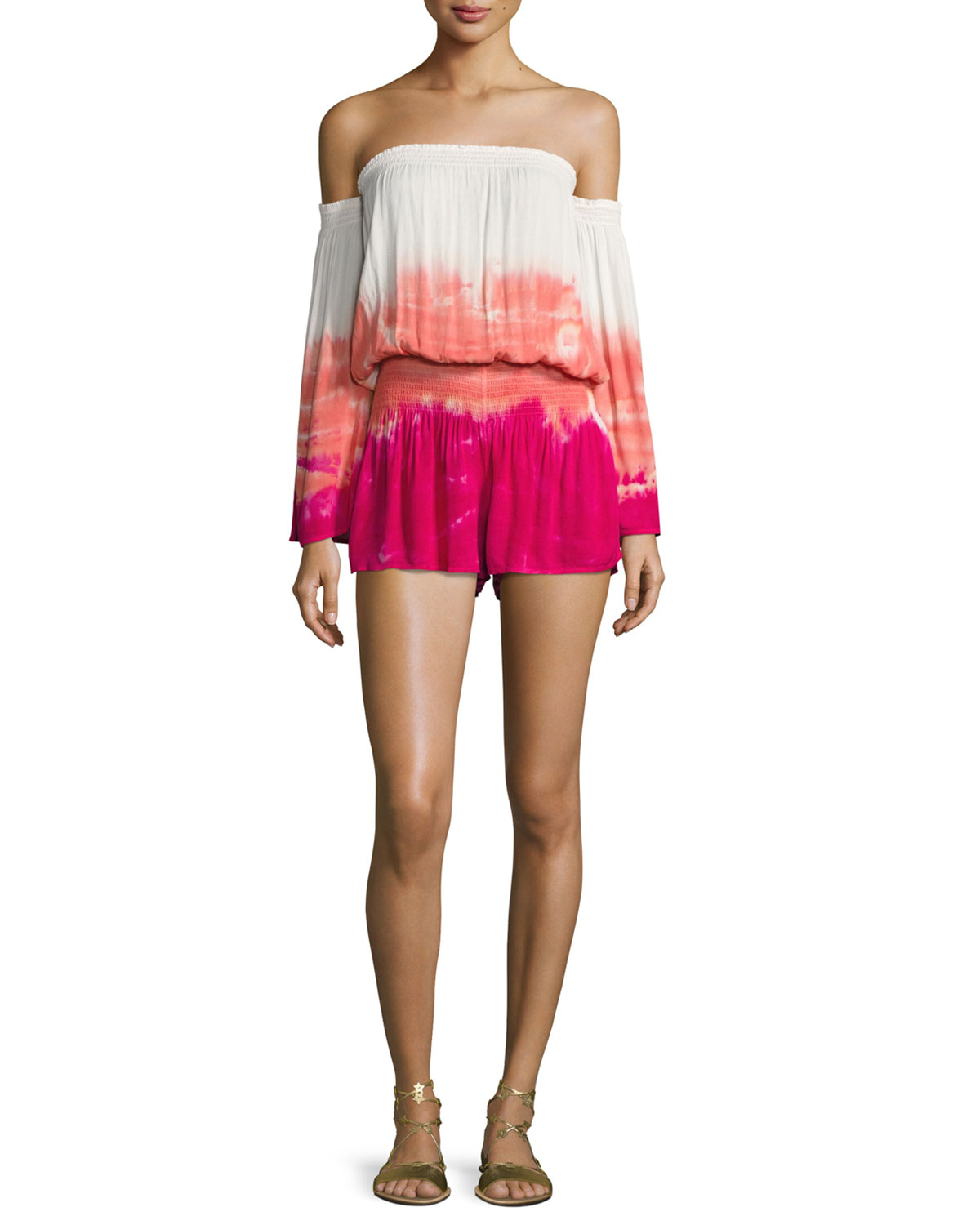 9c4df7964ce3 Young Fabulous and BrokeEstelle Tie-Dye Ombré Off-the-Shoulder Romper