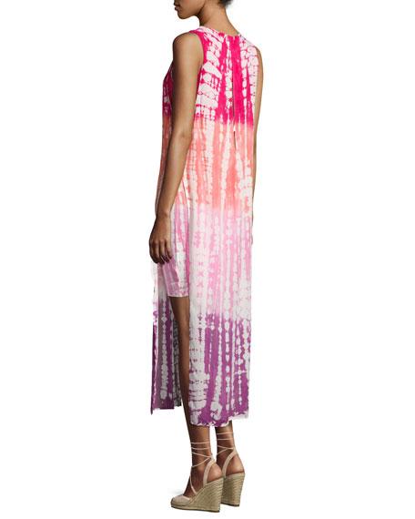 Amara Tie-Dye Midi Tank Dress, Hibiscus Earthquake Wash