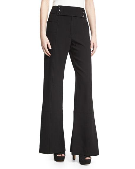 Paneled Crepe Flare Trousers, Black