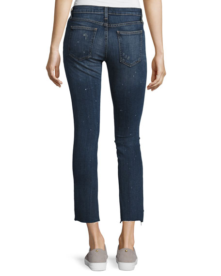 Uneven Cut Distressed Skinny Jeans, Medium Blue