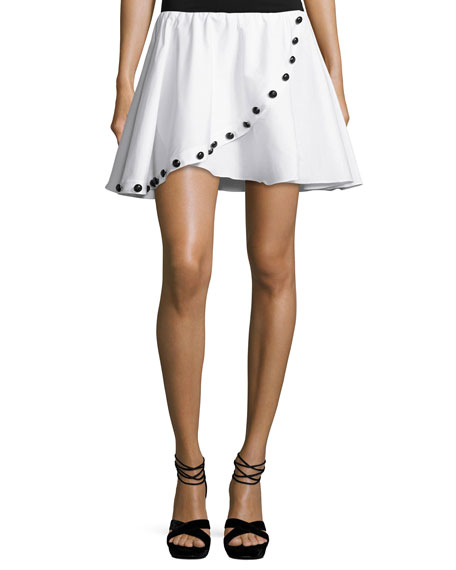 Caroline Constas Button Crossover Mini Skirt, White