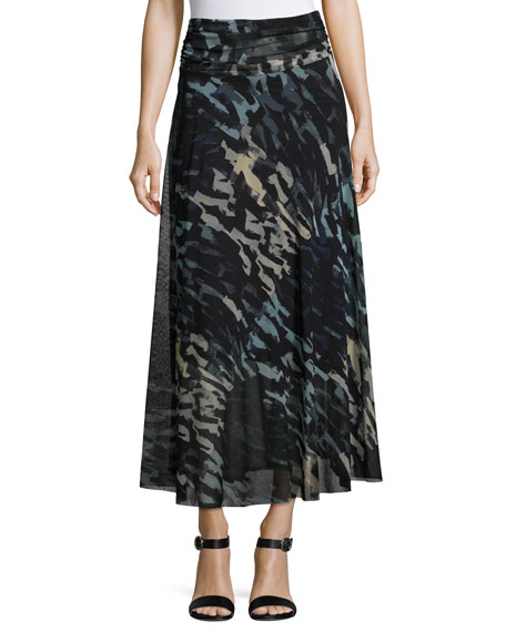 Abstract-Print Tulle Midi Skirt, Black/Blue