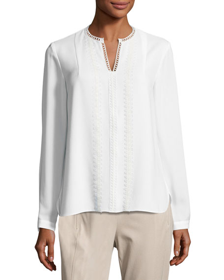 Elie Tahari Lilianna Long-Sleeve Lace-Trim Blouse, White