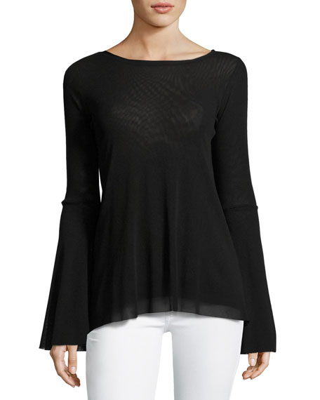 Bell-Sleeve Tulle Top w/ Keyhole Back, Black