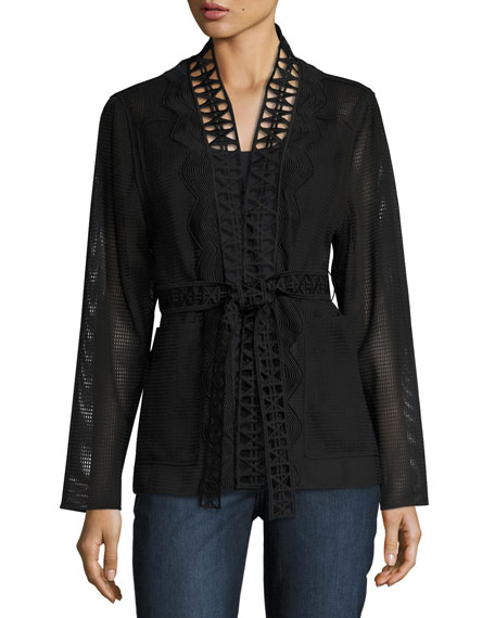 Elie Tahari Maliah Textured Topper Jacket, Black