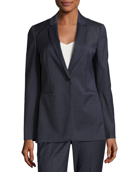 Elie Tahari Maysa Dot-Trim One-Button Blazer Jacket and
