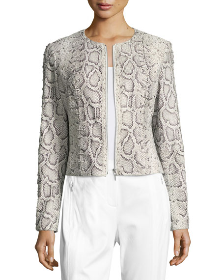 Elie Tahari Janet Lace-Up Python-Print Leather Jacket
