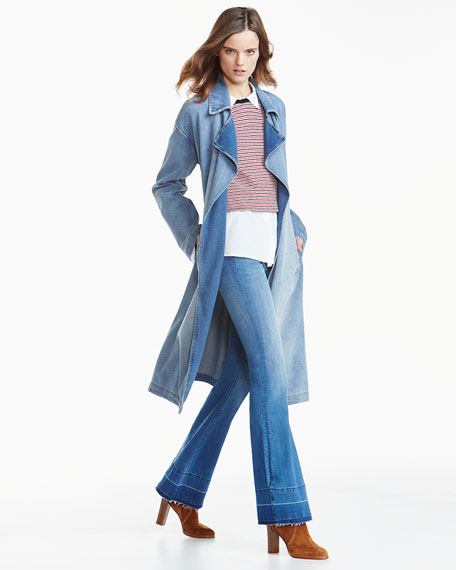 Oversized Denim Trench Coat, Blue