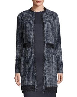 Kora Long Tweed Hook-Front Jacket