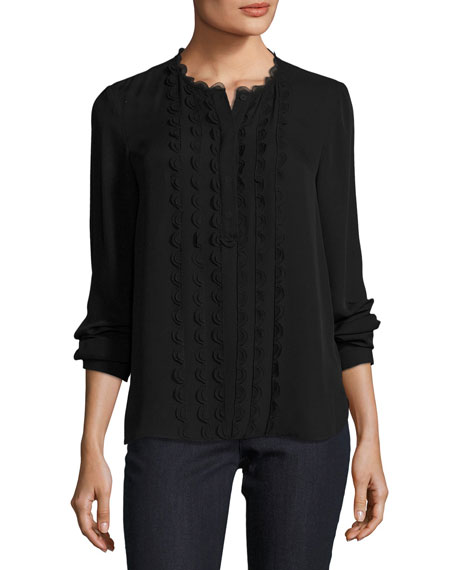 Elie Tahari Antonella Scalloped-Trim Silk Blouse, Black