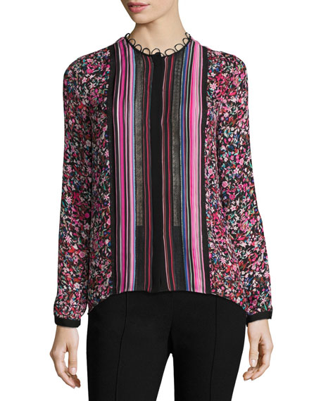 Elie Tahari Buffy Long-Sleeve Striped & Floral-Print Silk